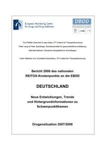 Bericht 2008 des nationalen REITOX-Knotenpunkts an die EBDD – Deutschland – Neue Entwicklungen, Trends und Hintergrundinformationen zu Schwerpunktthemen – Drogensituation 2007/2008 (DBDD, 2008)