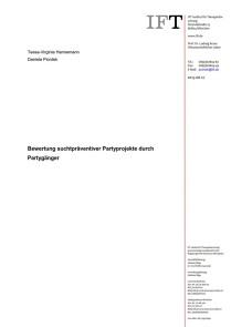 Bewertung suchtpräventiver Partyprojekte durch Partygänger (IFT, 27.08.2014)