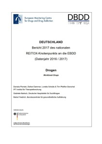 Bericht 2017 des nationalen REITOX-Knotenpunkts an die EBDD (Datenjahr 2016 / 2017) – Cover des Workbook Drugs (DBDD, 15.12.2017)