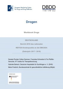 Bericht 2018 des nationalen REITOX-Knotenpunkts an die EBDD (Datenjahr 2017 / 2018) – Cover des Workbook Drugs (DBDD, 07.12.2018)