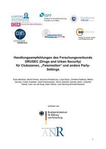 Handlungsempfehlungen DRUSEC für Clubszenen, Feiermeilen und andere Party-Settings (DRUSEC, 04.12.2020)